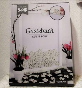 Gästebuch im Rahmen 41,8x29,9cm m. 84 Kleeblättern zum Beschriften