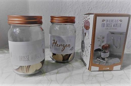 Wünsche-Glas mit 4 Aufklebern u. 60 Holzherzen, H 12,5 cm, D 7,6 c