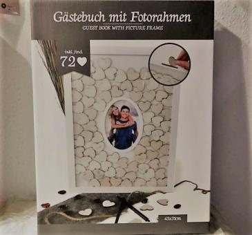 Gästebuch im Rahmen + Foto Deluxe m. 72 Herzen